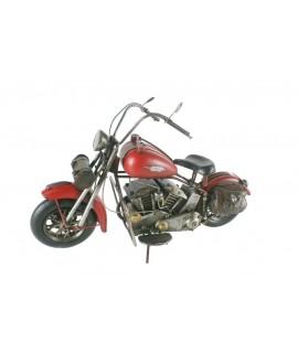 Décoration moto métal grande taille rouge. Mesures: 23x41x13 cm.