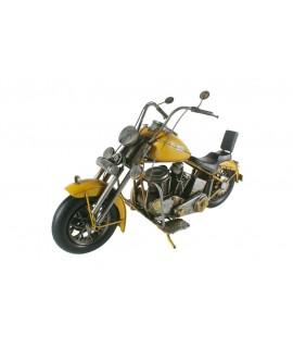 Moto decoración de metal tamaño grande color amarillo. Medidas: 23x41x13 cm.