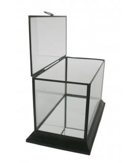 Urna de vidre i perfilaria metàl·lica amb tapa superior. Mesures: 20x33x18 cm.