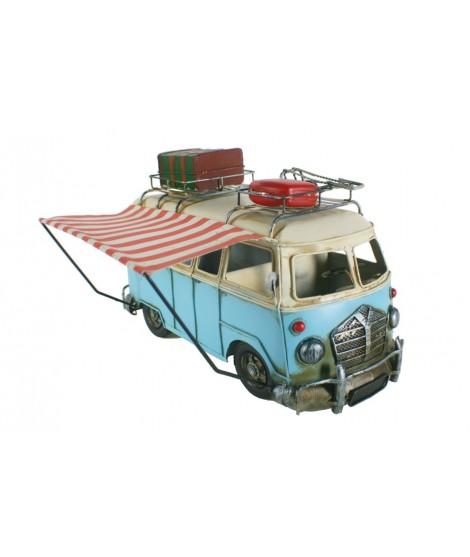 Réplica grande de camper T-4 color azul con avance plegable. Medidas: 27x41x31 cm.