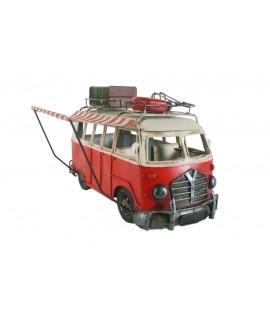 Réplica grande de camper T-4 color rojo con avance plegable. Medidas: 27x41x31 cm.