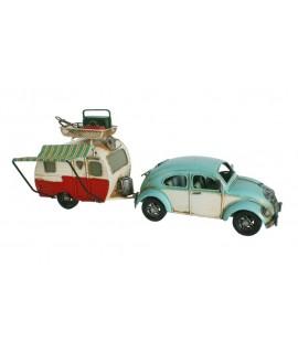 Réplique de la voiture coléoptère volkswagen bleu avec caravane. Mesures: 15x36x10 cm.