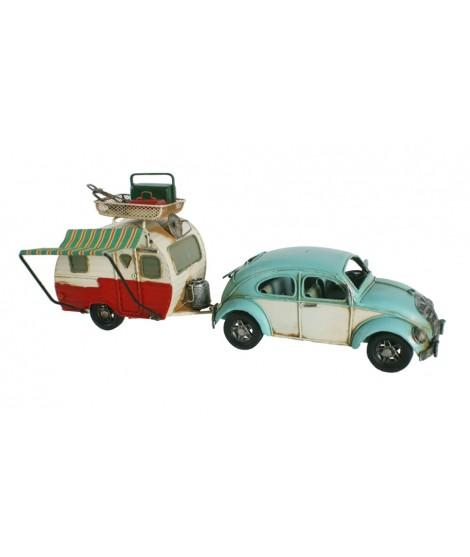 Réplica de coche  escarabajo volkswagen color azul con caravana. Medidas: 15x36x10 cm.