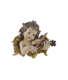 Buste d'ange à accrocher jouant du violon. Mesures: 23x25 cm.