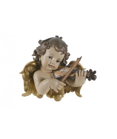 Busto de ángel para colgar tocando el violín. Medidas: 23x25 cm.