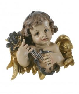 Buste d'ange à accrocher en train de jouer à la mandoline. Mesures: 23x25 cm.