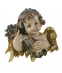 Busto de ángel  para colgar tocando mandolina. Medidas: 23x25 cm.