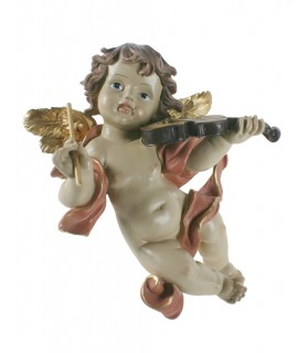 Ángel para colgar tocando el violín. Medidas: 26x20x11 cm.