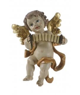 Ángel para colgar tocando el acordeón. Medidas: 26x20x11 cm.