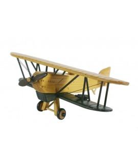 Avion biplan en bois massif deux couleurs. Mesures: 9x26x21 cm.