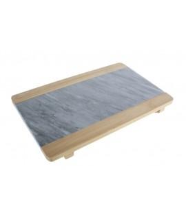 Planche à découper en bambou et marbre naturel. Mesures: 2x30x19 cm.