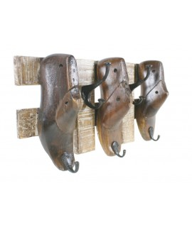 Penjador de paret 3 sabates en fusta i metall. Mesures: 29x54x13 cm.