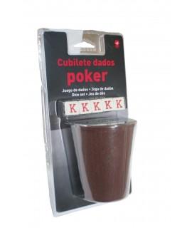 Bécher et cinq dés de poker Mod. Mesures: 9xØ7 cm.