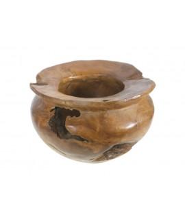 Centre per a taula gerro de fusta teca massissa irregular. Mesures: 20xØ30 cm.