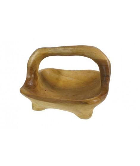 Bol en bois de teck avec 4 pattes et poignée de transport. Mesures: 23x30x27 cm.