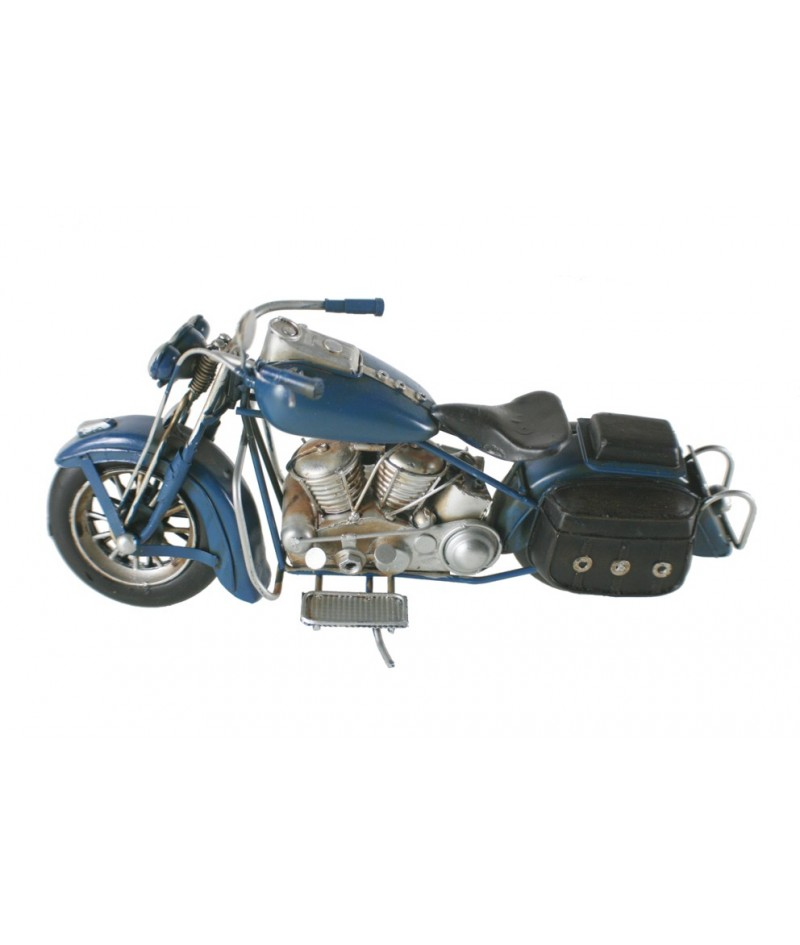 Moto decoración en metal color azul estilo retro. Medidas: 14x27x11 cm.