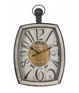 Gran rellotge de forja i fusta per penjar a paret. Mesures: 86x50 cm.