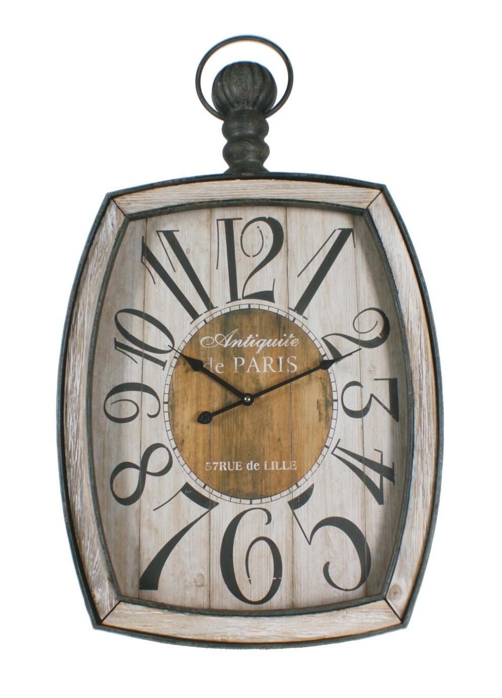 Grosse Horloge Fer Forgé horloge en métal avec des applications en bois, à accrocher