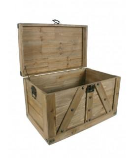 Baúl mediano de madera maciza listones color roble. Medidas: 38x60x37 cm.