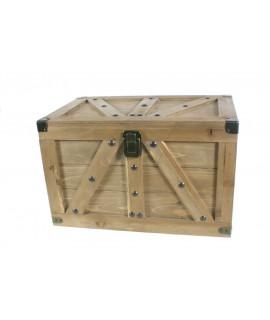 Grand coffre lattes en bois massif couleur chêne. Mesures: 45x70x44 cm.