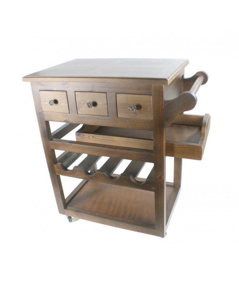 Carrito camarera para cocina en madera maciza con cajones - Muebles de cocina madera maciza ...