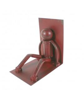 Apoya libros estilo industrial color rojo. Medidas: 15x15x10 cm.