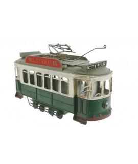 Tramway vert de style rétro en métal pour les objets de collection. Mesures: 17x30x9 cm.