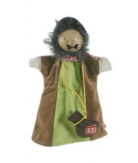 Títere de mano Ladrón con cabeza de madera. Medidas: 30x20 cm.