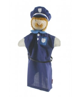 Títere de mano Policía con cabeza de madera. Medidas: 30x20 cm.