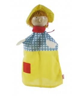 Títere de mano con cabeza de madera -Niño con sombrero-