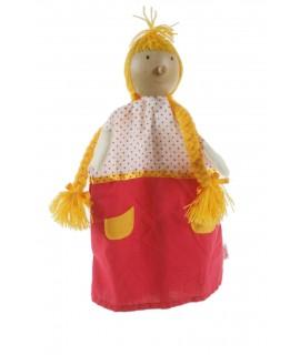 Marionnette à la main Fille avec des tresses avec une tête en bois. Mesures: 30x20 cm.