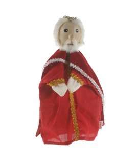 Marionnette à main King avec manteau en bois et tête. Mesures: 30x20 cm.