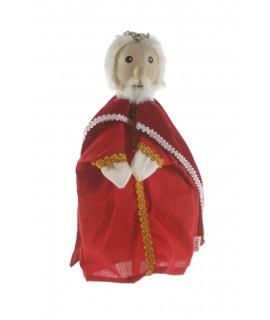 Títere de mano Rey con capa y cabeza de madera. Medidas: 30x20 cm.
