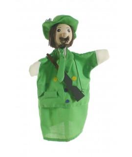 Marionnette à main Hunter avec fusil et tête en bois. Mesures: 30x20 cm.