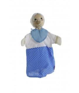 Grand-mère marionnette à tête en bois.