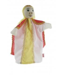 Marionnette à la main princesse avec une tête en bois. Mesures: 30x20 cm.
