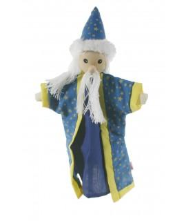Marionnette à main Magicien avec barbe et tête en bois. Mesures: 30x20 cm.