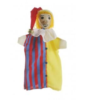 Marionnette à la main Jester avec tête en bois. Mesures: 30x20 cm.