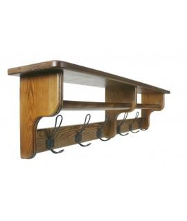 Colgador perchero rústico con sombrerero  y barra para bufandas de madera. Medidas:  28x117x20 cm.