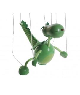 Marionnette à corde en bois de dinosaure. Mesures: 38x16 cm.