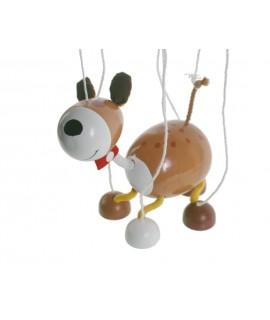 Marioneta de cuerda Perro. Medidas: 38x16 cm.