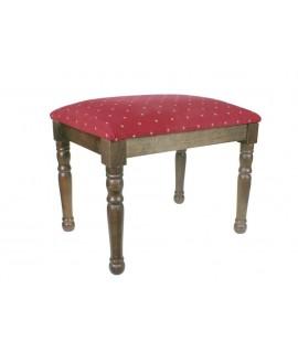 Reposapiés banqueta descalzadora madera color noguer tela granate decoración vintage descanso pies