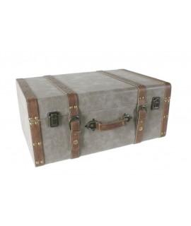Grande valise en bois doublée de bretelles. Mesures: 38x52x23 cm.