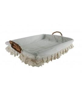Panier en osier couleur miel pour vêtements en fer doublés. Mesures: 62x42 cm.