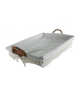 Panera mimbre color miel para ropa de plancha forrada. Medidas: 62x42 cm.