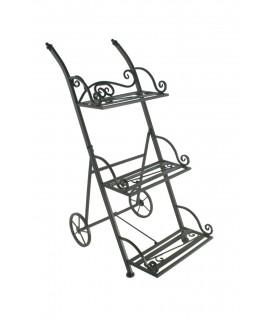 Porta tiestos de metal  tipo carrito de tres pisos plegable. Medidas: 82x34x50 cm.