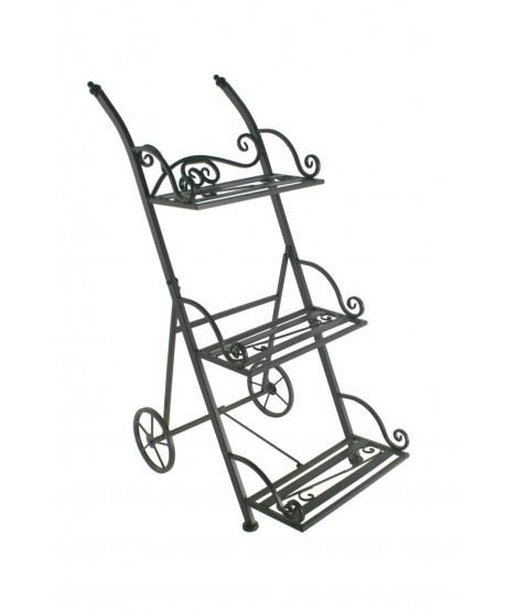Porta testos de metall tipus carret de tres pisos plegable. Mesures: 82x34x50 cm.