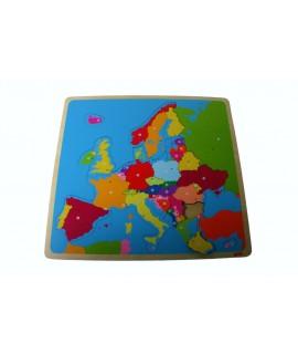 Puzzle en bois Europe. Mesures: 32x30 cm.