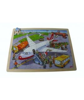 Puzzle, de madera 96 piezas Aeropuerto. Medidas: 40x30cm.