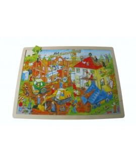Puzzle de 96 pièces de construction en bois. Mesures: 40x30 cm.